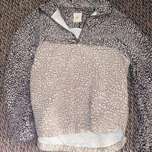 Gray and tan Sherpa half zip